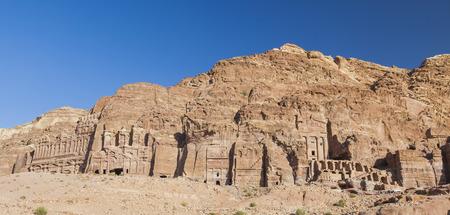 Urn Tomb, Silk Tomb and Royal tombs. Petra. Jordan. Stock Photo