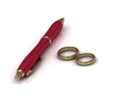 Two wedding rings and a red pen on a white background  photo
