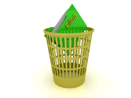 eliminate: Yellow basket with a folder for the files on a white background Stock Photo