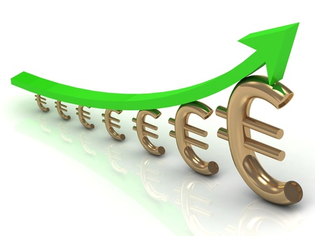 Chart the growth of the euro with the green arrow photo