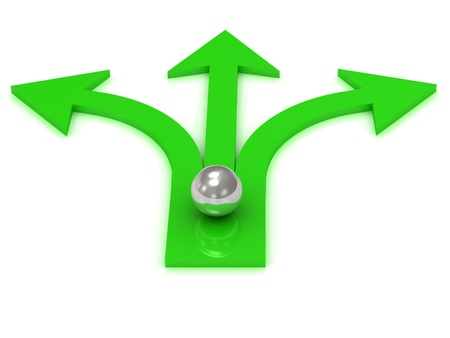 Three green arrows in different directions with the ball of the chromium Stock Photo - 14575755