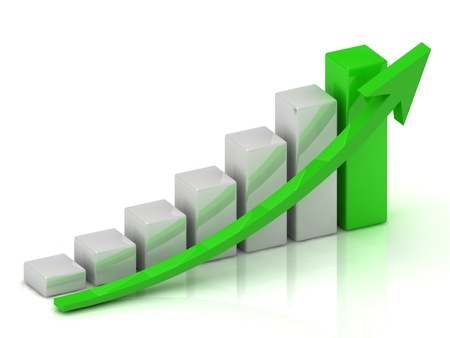 Business growth chart of the bars and the green arrow on a white background Stock Photo