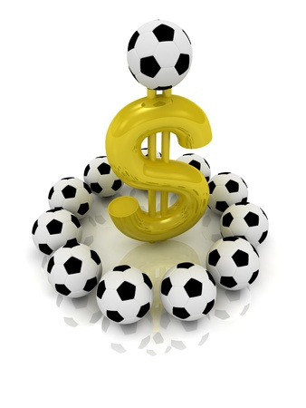 Money in football on a white background photo