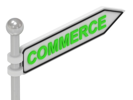 COMMERCE arrow sign with letters on isolated white background photo