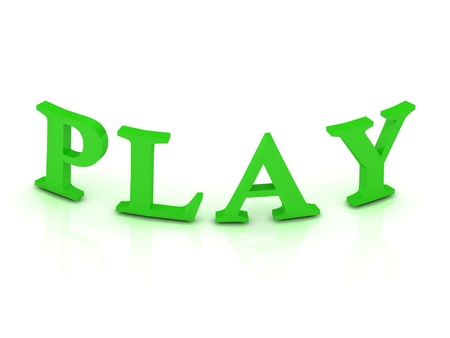 PLAY sign with green letters on isolated white background Stock Photo