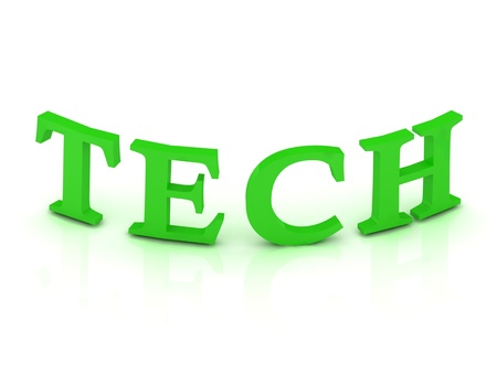 TECH sign with green letters on isolated white background photo