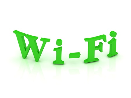 WIFI sign with green letters on isolated white background Stock Photo - 14630828