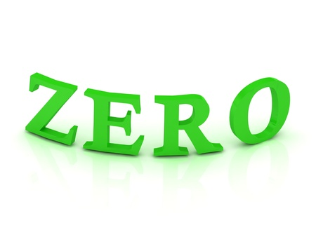 null: ZERO sign with green letters on isolated white background