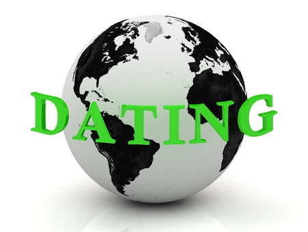 DATING abstraction inscription around earth on a white background photo