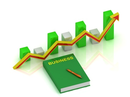 Graph changes with an yellow-red arrow and book business, pen  photo