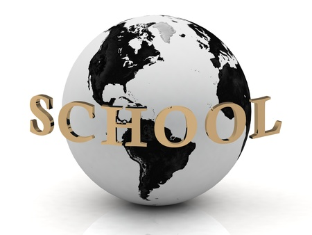 SCHOOL abstraction inscription around earth on a white background photo
