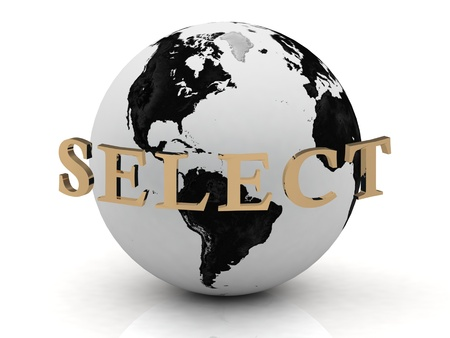 SELECT abstraction inscription around earth on a white background photo
