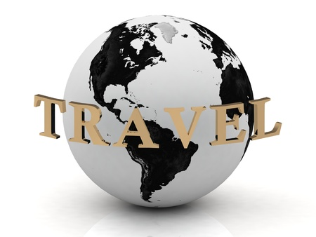 TRAVEL abstraction inscription around earth on a white background Stock Photo - 14619093