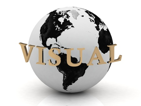 VISUAL abstraction inscription around earth on a white background Stock Photo - 14621304