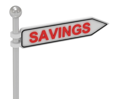 SAVINGS arrow sign with letters on isolated white background photo