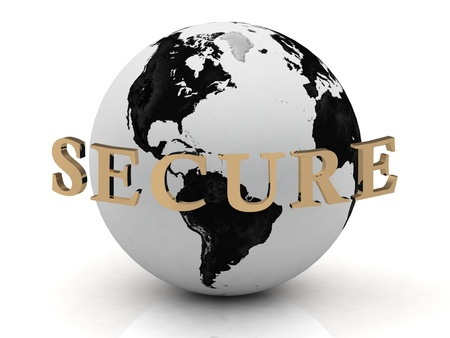 network security: SECURE abstraction inscription around earth on a white background