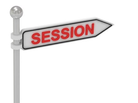 SESSION arrow sign with letters on isolated white background photo
