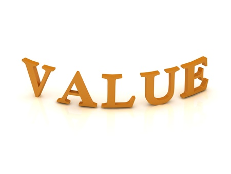 VALUE sign with orange letters on isolated white background photo