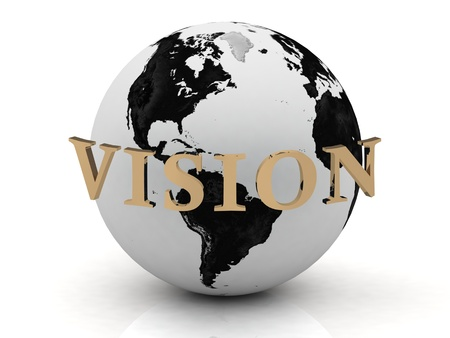 VISION abstraction inscription around earth on a white background photo