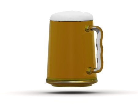 Beer mug with beer poured to the brim with foam on the surface photo