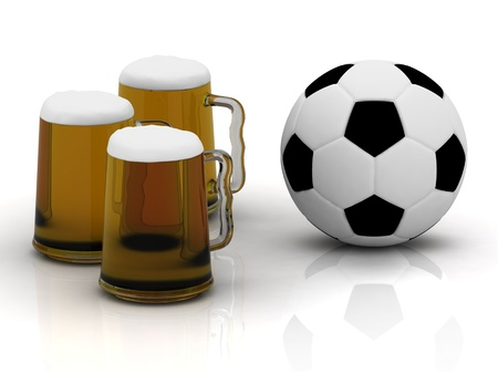Three cups of tasty dark beer with foam, and a soccer ball Stock Photo - 14621174