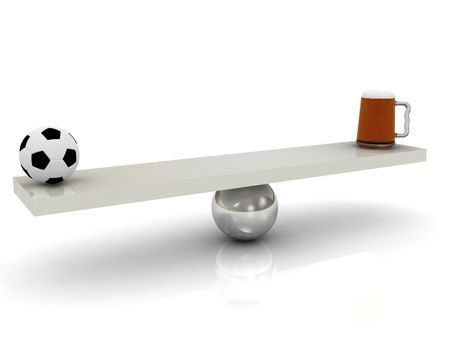 That outweigh the mug of beer or football. 3D render on a white background photo