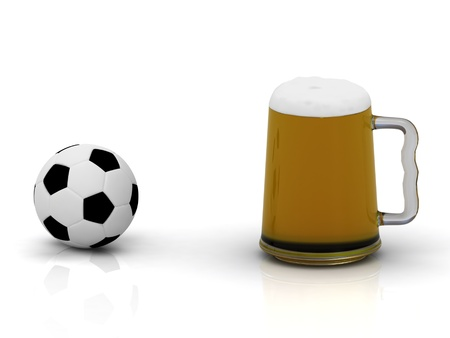 Small soccer ball and a big mug of beer with foam photo