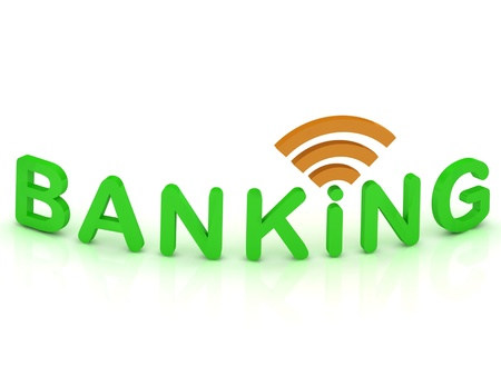 BANKING sign with the antenna with green letters on isolated white background  Stock Photo - 14625985