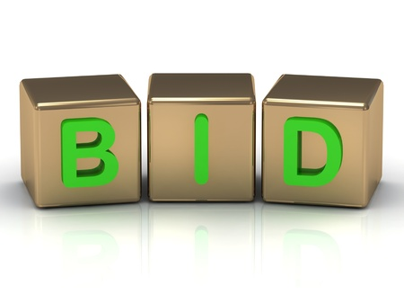 Bid the green inscription on the gold cubes on a white background Stock Photo