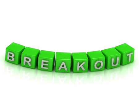breakout: Inscription Breakout a green cubes on a white background