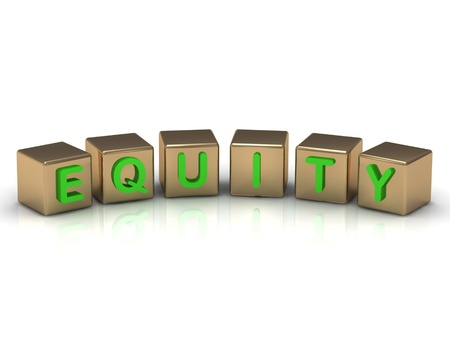 Equity on the gold cubes on a white background photo