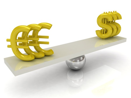 Balance Dollar and Euro on a white background photo