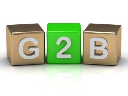 G2B Government to Business, symbol on gold and green cubes on white background  Stock Photo - 14621970