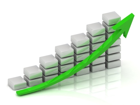 Business growth chart of the white blocks with a green arrow photo