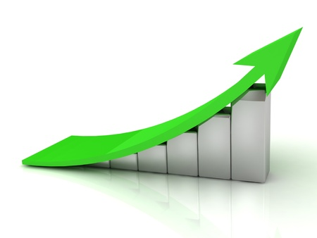 3D Illustration of the Business growth with green arrow on white background  illustration
