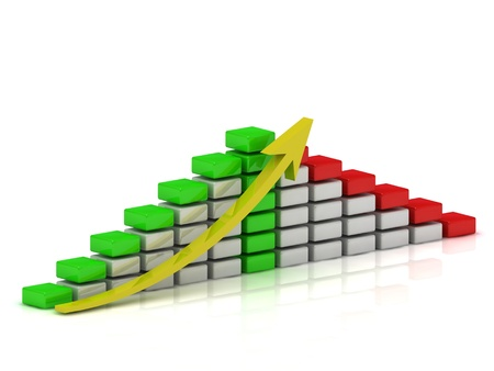 Business growth chart of the white, red and green blocks with a yellow arrow photo