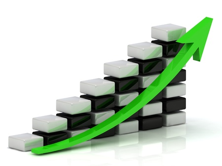Business growth chart of the white and black blocks in a checkerboard pattern with a green arrow on a white background  Stock Photo