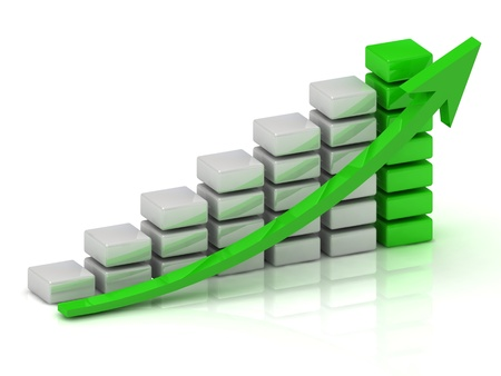 Business growth chart of the white and green blocks with a green arrow photo