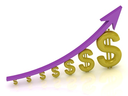 3D Illustration of the growth of the dollar with a lilac arrow on white background  illustration