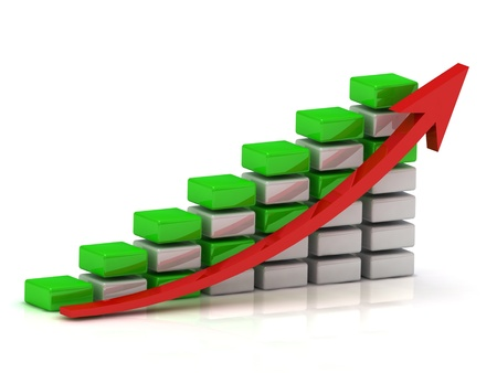Business growth chart of the white and green blocks with a red arrow photo