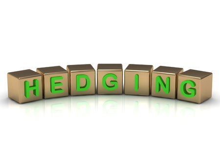 hedging: Hedging on the gold cubes on a white background