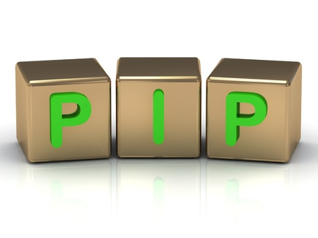 pip the green inscription on the gold cubes on a white background Stock Photo