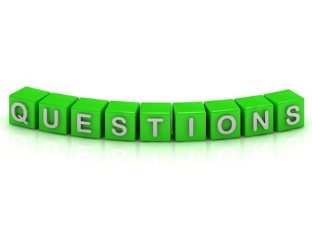 QUESTIONS inscription on the green cubes on a white background photo