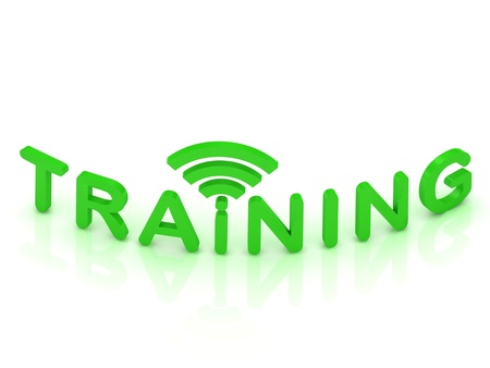 TRAINING green sign with the antenna on isolated white background  photo