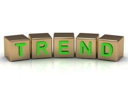 Trend sui cubi d'oro su uno sfondo bianco