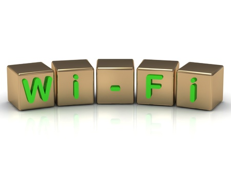 wifi green inscription on the gold cubes on a white background photo