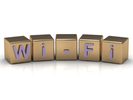 Wi-Fi inscription on the gold cubes on a white background Stock Photo - 14624419