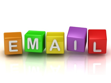 Email on color colorful cubes on a white background photo
