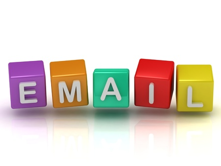 Email inscription on the colorful cubes arranged in a variation on a white background Stock Photo - 14624155