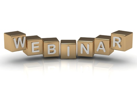 Beautiful inscription Webinar in white letters on the gold cubes. 3d render illustration illustration